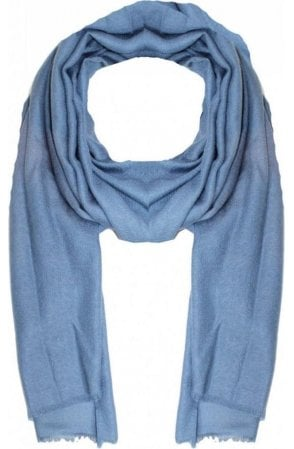 Blue Floral Embossed Scarf