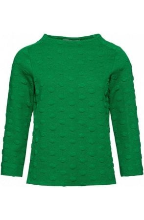 Green Embossed Spot Print Top