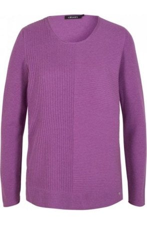 Lilac Ribbed Front Sweater