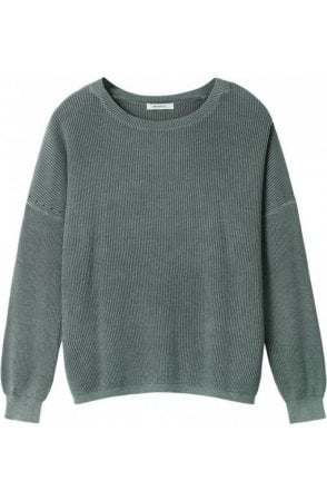 Deep Jade Ribbed Knit Sweater