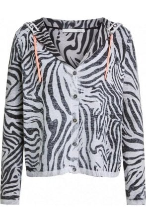 Zebra Print Hooded Cardigan