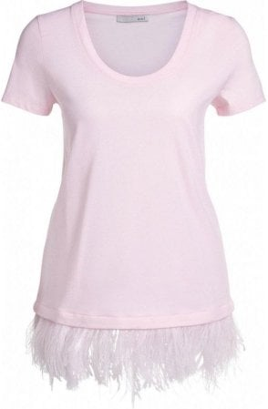 Pink Feather Hem T-Shirt