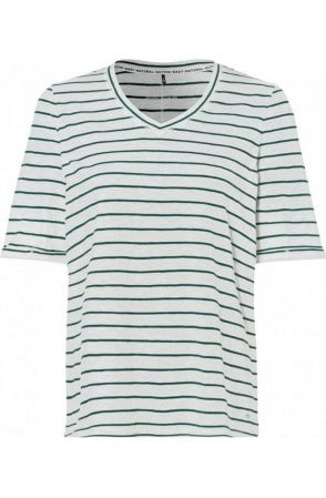 Green & Off White Striped T-Shirt