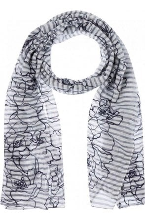 Striped Embroidered Floral Scarf