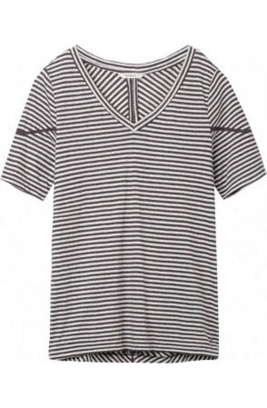 Grey Striped Jersey T-Shirt