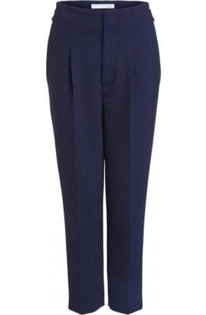 Navy Check Print Trousers