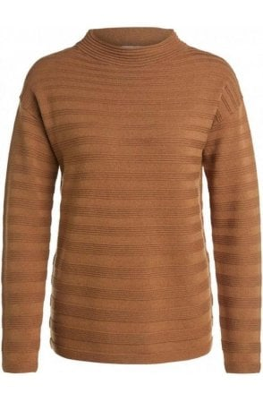 Camel Ribbed Knit Jumper