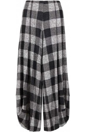 Grey Wide Leg Check Culottes