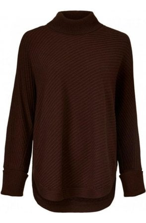 Gracia Coffee Ribbed Jumper