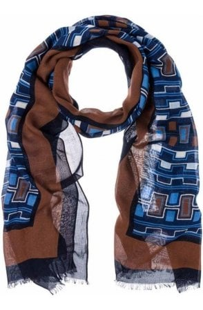 Blue Steel Abstract Print Scarf