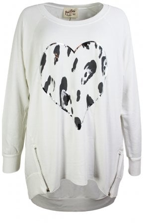 White Heart Design Oversize Top