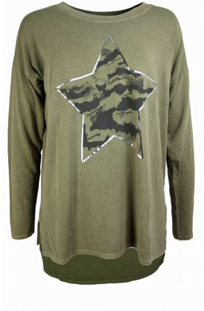 Olive Star Design Oversized Top