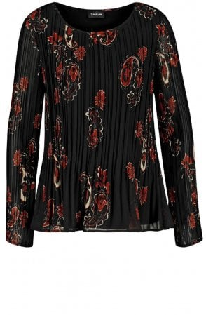 Pleated Patterned Blouse