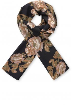 Along Warm Rose Floral Scarf