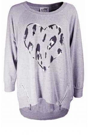 Grey Heart Design Oversized Top