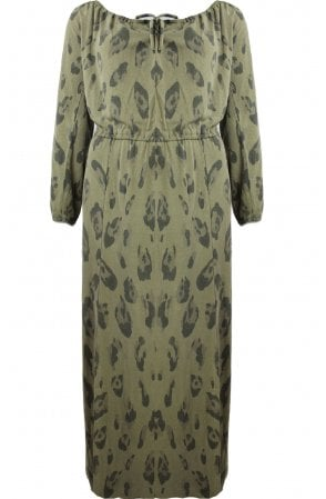 Olive Patterned Jersey Maxi Dress