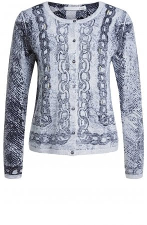 Grey Chain Print Cardigan