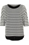 Yest Black & White Striped Layered Top