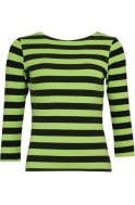 Lime Green & Black Striped Top