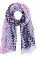 Lilac & Navy Patterned Scarf