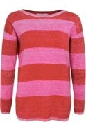 Oui Red Rose Striped Jumper