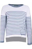 Oui Light Blue White Striped Jumper