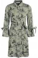 Oui Light Green Green Palm Print Dress