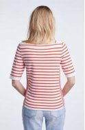 Oui White & Red Striped Knit Top