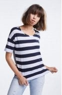 Oui Contrasting Striped Jersey Top