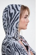 Oui Zebra Print Hooded Cardigan
