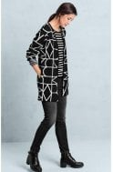 Bianca Black & White Patterned Cardigan