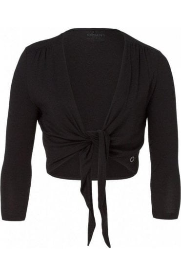 Draped Short Black Cardigan