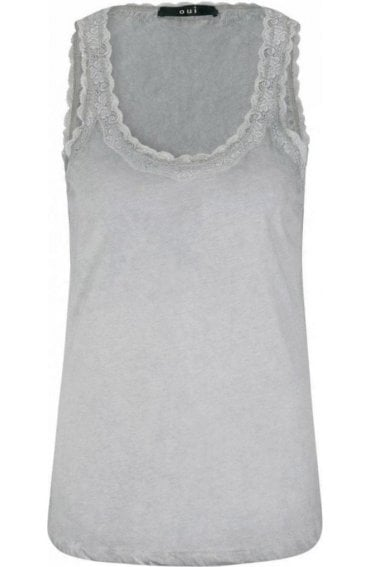 Grey Lace Detailed Vest Top