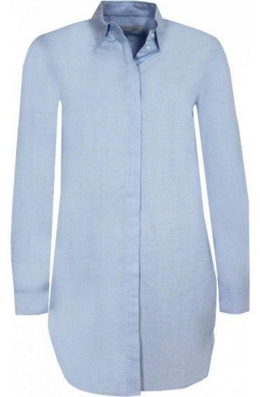 Long Line Pale Blue Shirt