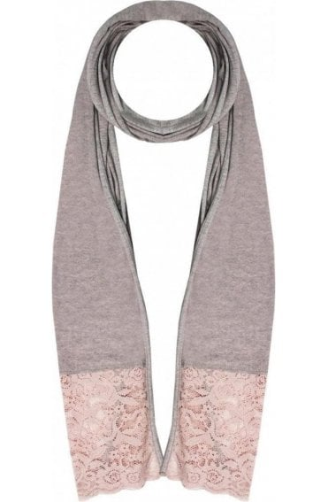 Fudge Marl Lace Detailed Scarf