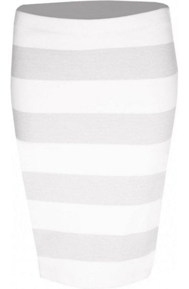Grey & Off White Striped Skirt