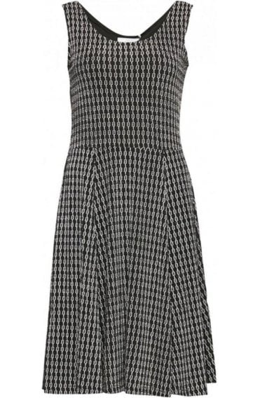 Metallic Patterned Skater Dress