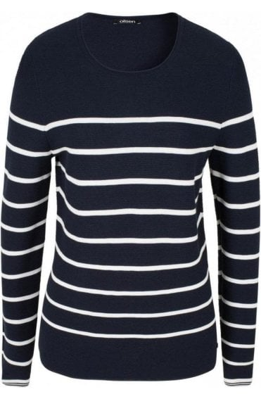 Navy & White Stripe Sweater