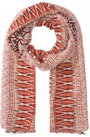 Red & White Patterned Scarf