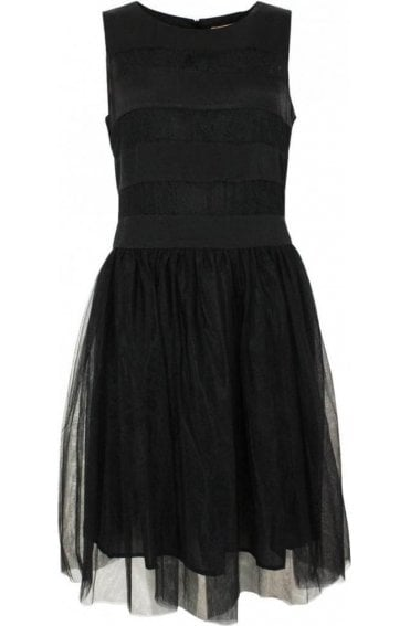 Black Lace Detailed Skater Dress