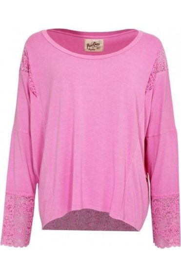 Pink Jersey Lace Detail Top