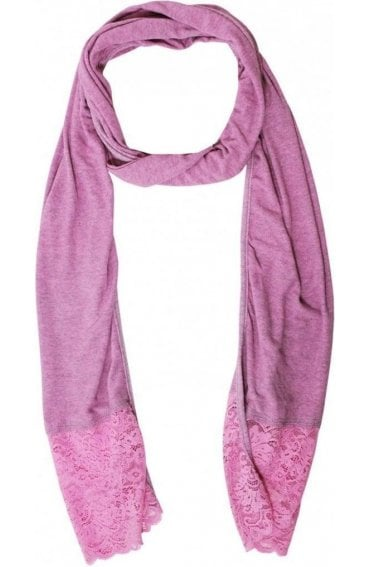 Pink Marl Lace Detailed Scarf