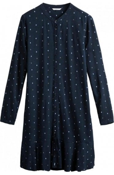 Navy Spot Print Shirt Dress