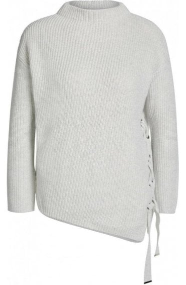Rib Knit Tie Detailed Sweater