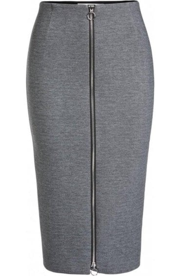 Grey Zip Front Pencil Skirt