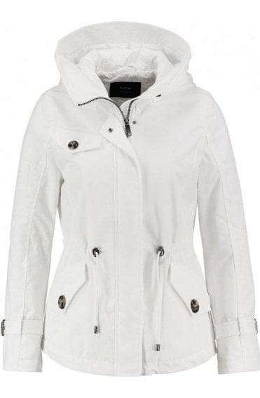 white quilted short Parka