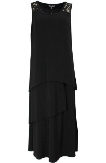 Black midi layered Dress