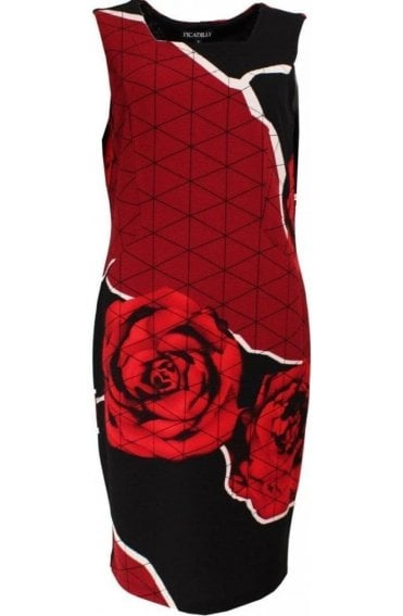 Striking Red & Black Print Dress