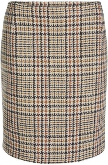 Check Tweed Straight Skirt