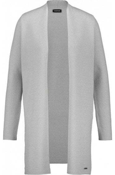 Grey Ribbed Knit Cardigan